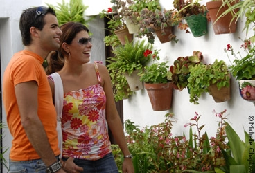 Tourists enjoying the courtyards and patios of Vejer de la Frontera. © Michelle Chaplow