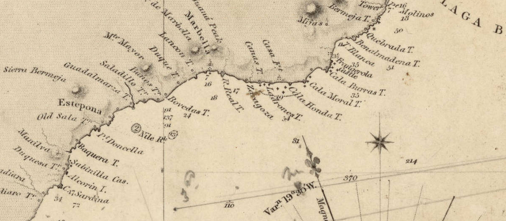 18th Century Map of watchtowers on coast