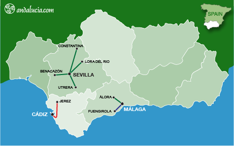 Cercanias routes in Andalucia; Seville, Cadiz and Malaga